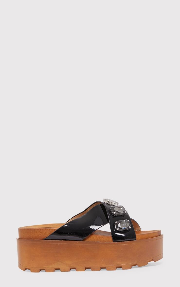 Ellissa Black Jewelled Flatform Sliders 2
