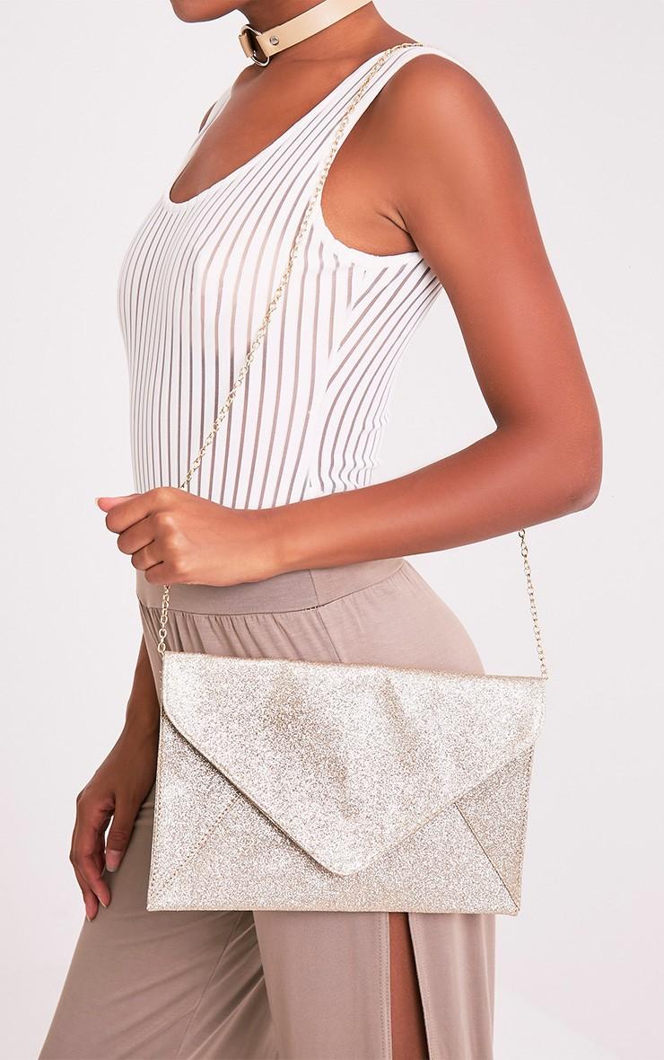 Paige Rose Gold Glitter Clutch Bag 1