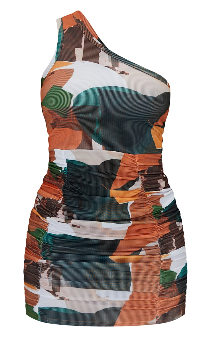 Orange Abstract Print Ribbed One Shoulder Ruched Skirt Bodycon Dress 5