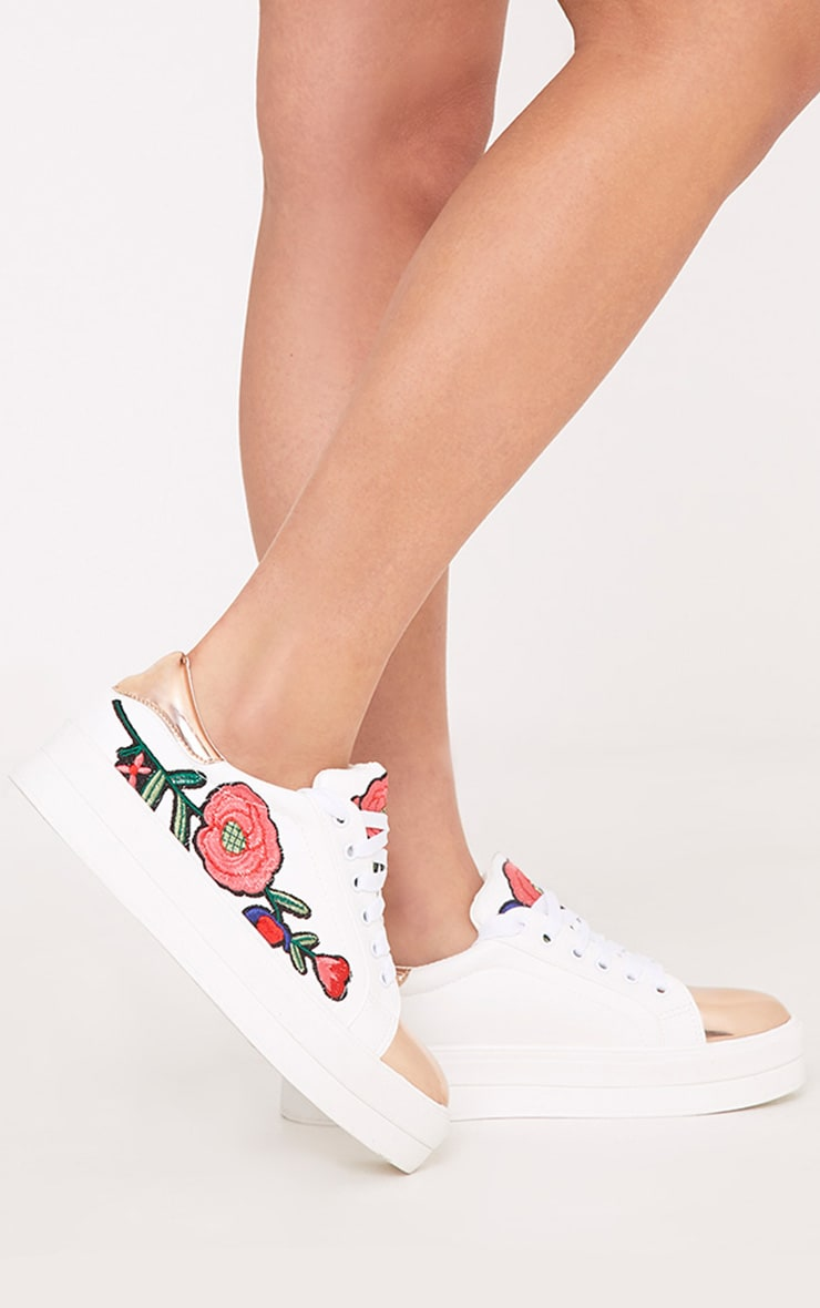 Marika Rose Gold Embroidered Flatform Trainers 1
