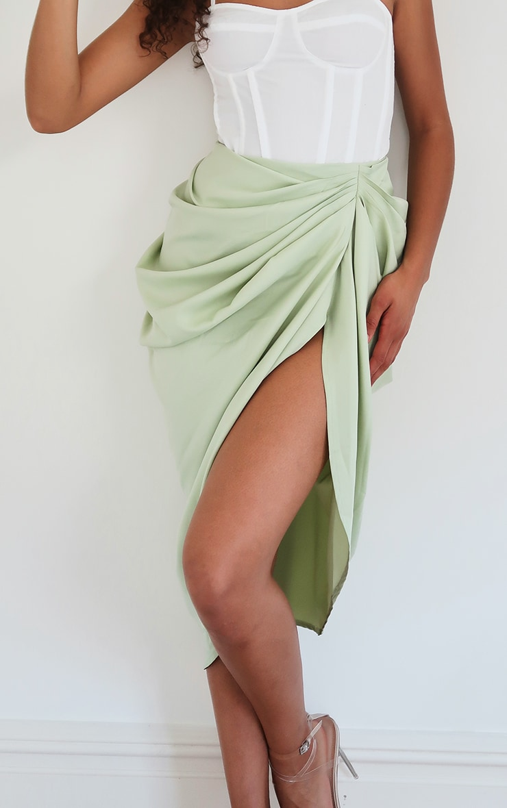 Sage Ruched Side Midi Skirt 5