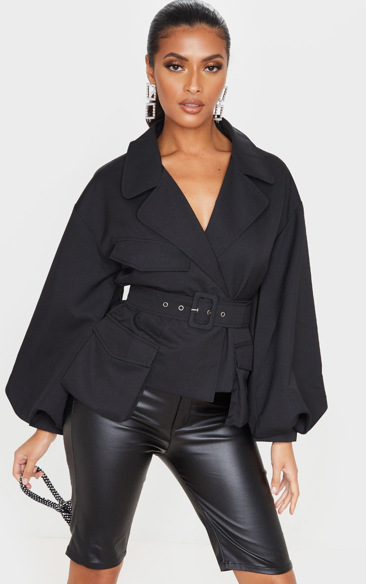 Black Woven Puff Sleeve Belted Jacket 5