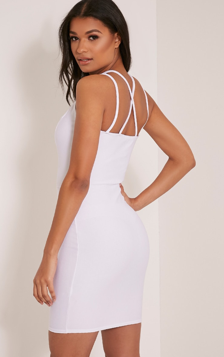 Maden White Strappy Detail Bodycon Dress 5