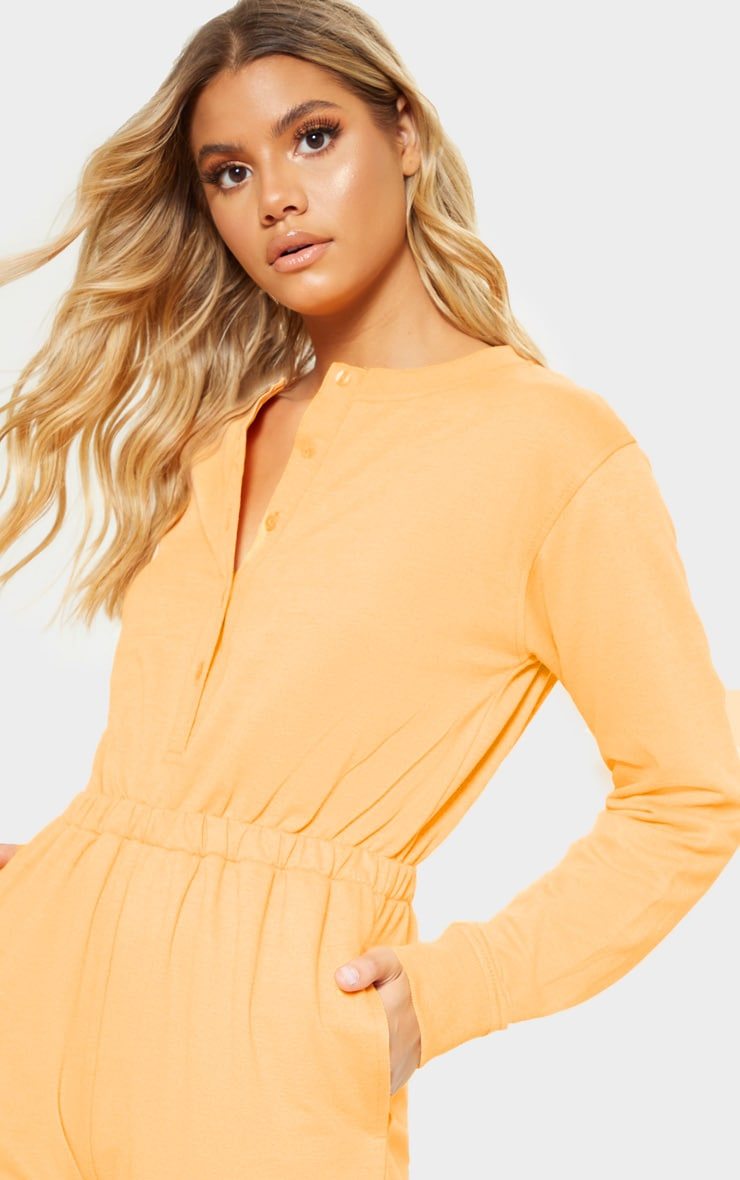 Tangerine Button Up Loop Back Jumpsuit 5