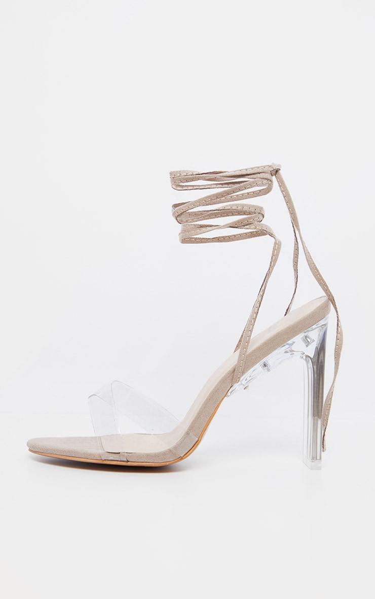 Nude Clear Heel Ankle Tie Sandal 4