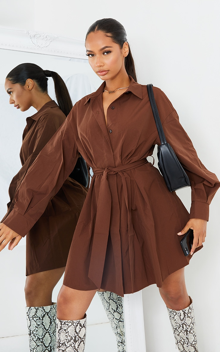 Chocolate Pleated Detail Button Down Shirt Dress image 1