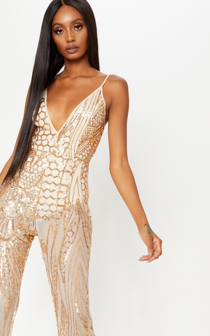 095116b487 Gold Sequin Flared Leg Jumpsuit image 5