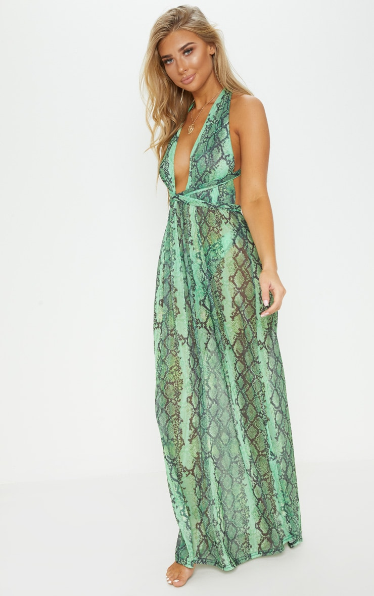 Green Snake Halterneck Maxi Beach Dress 4