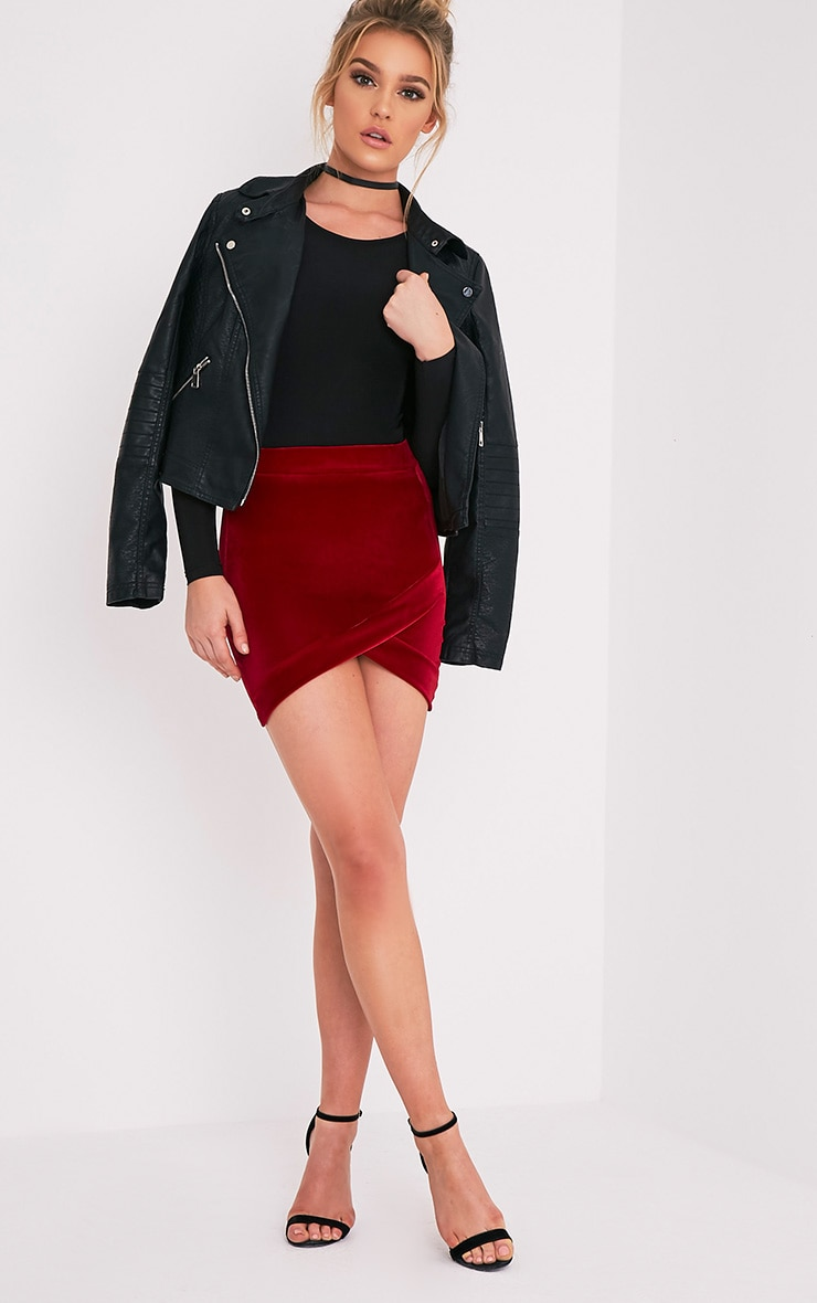 Gabriella Burgundy Velvet Asymmetric Mini Skirt 6