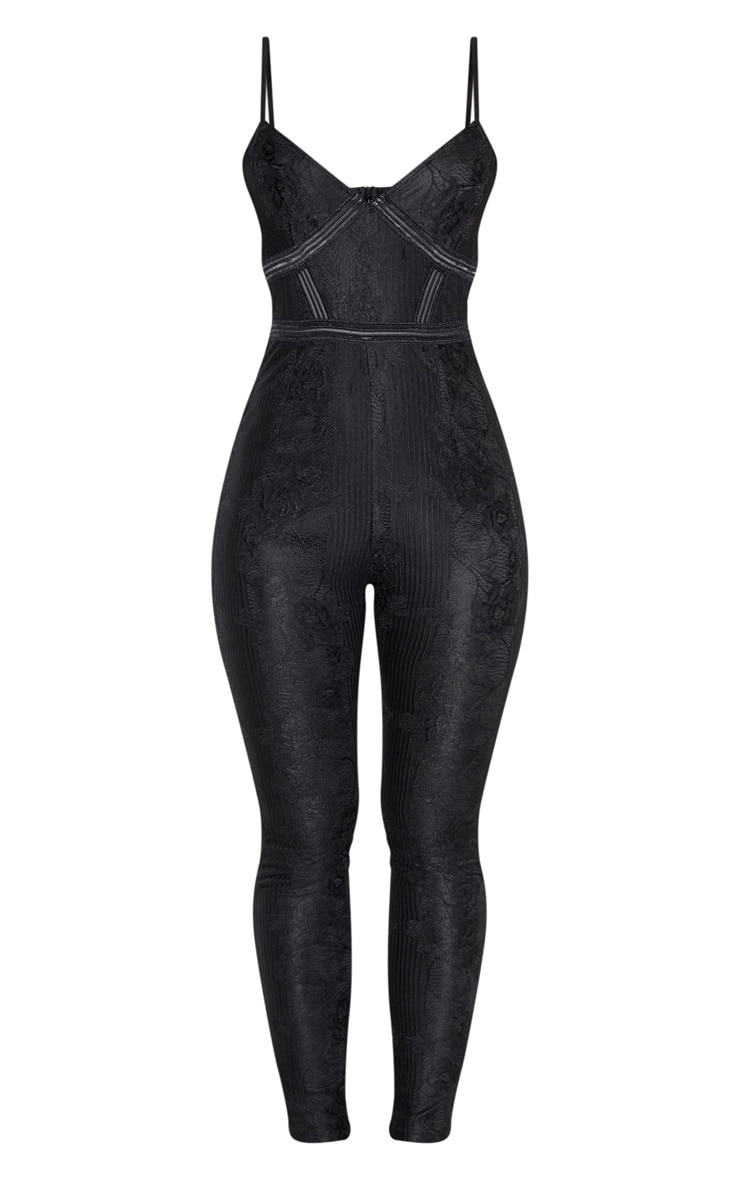 Black Strappy Lace Embroidered Trim Jumpsuit 3