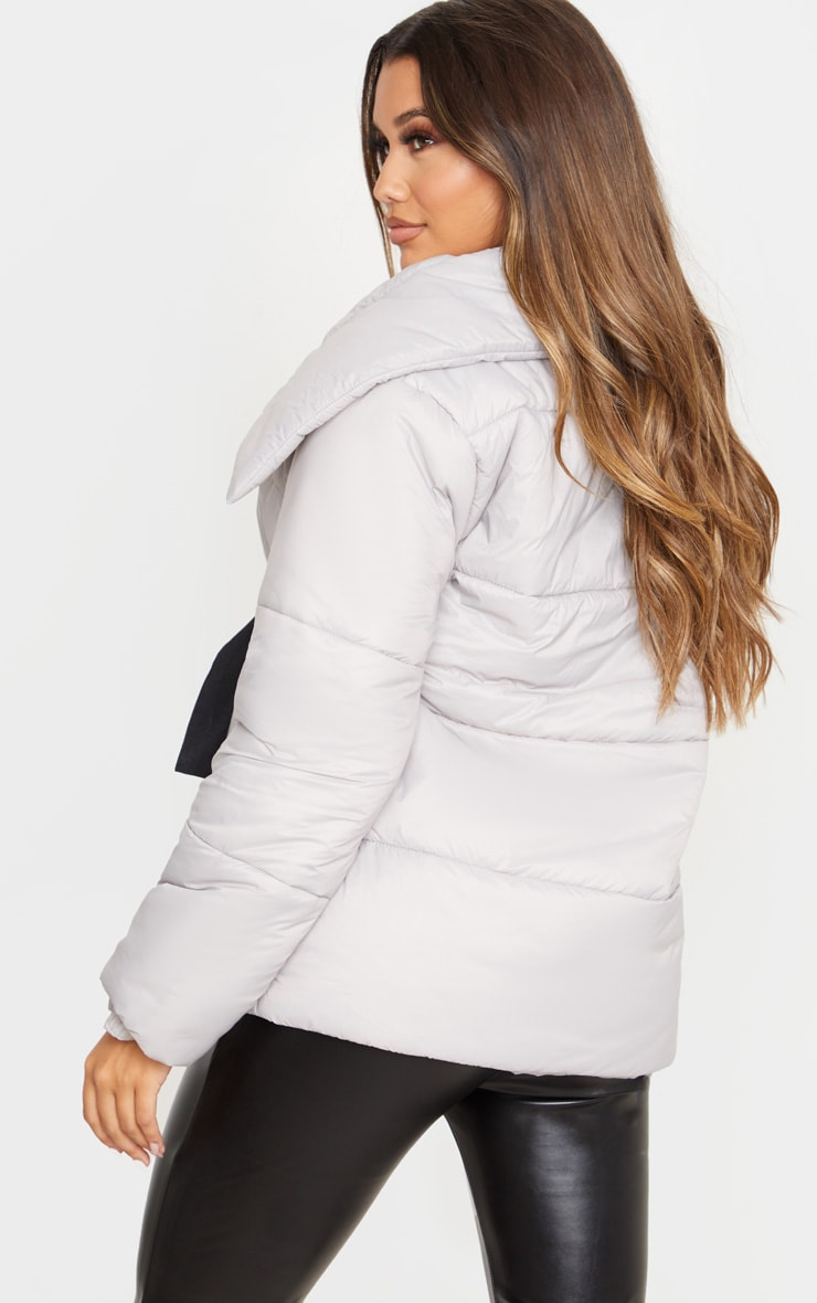 Grey Side Buckle Puffer Jacket 3