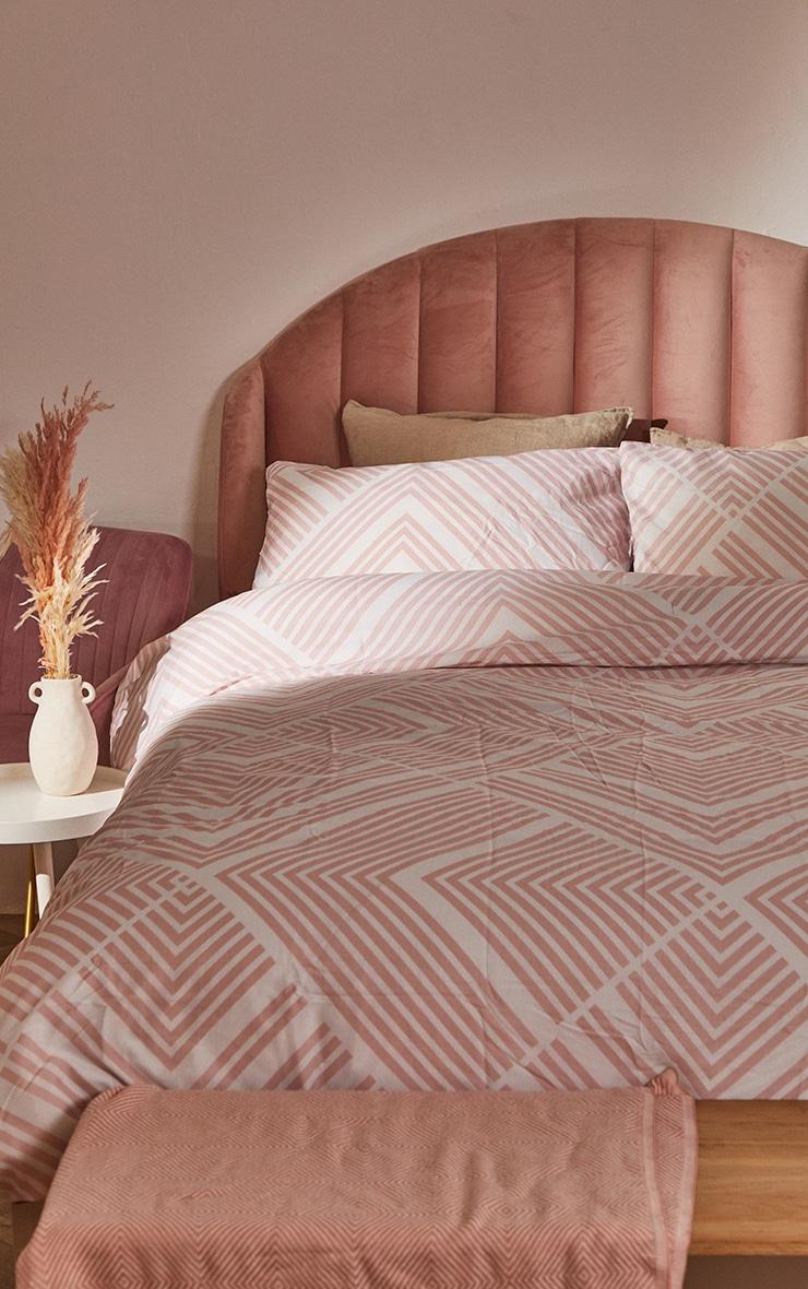Pink Striped Geometric Double Duvet 1