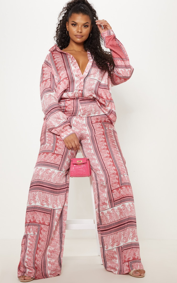 Plus Pink Scarf Print Oversized Shirt 4