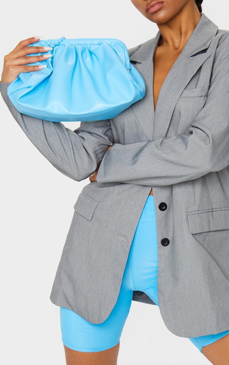 blue pu ruched oversized clutch bag