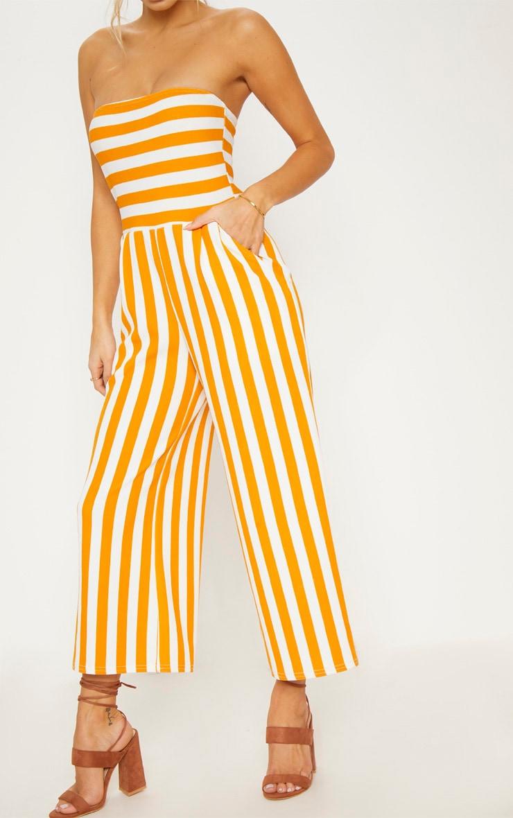 Mustard Contrast Stripe Bandeau Culotte Jumpsuit 5