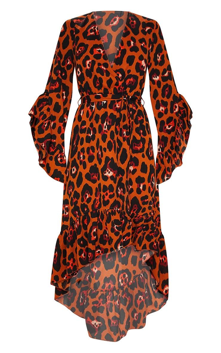 Rust Oversized Animal Print Ruffle Sleeve Wrap Midi Dress 3