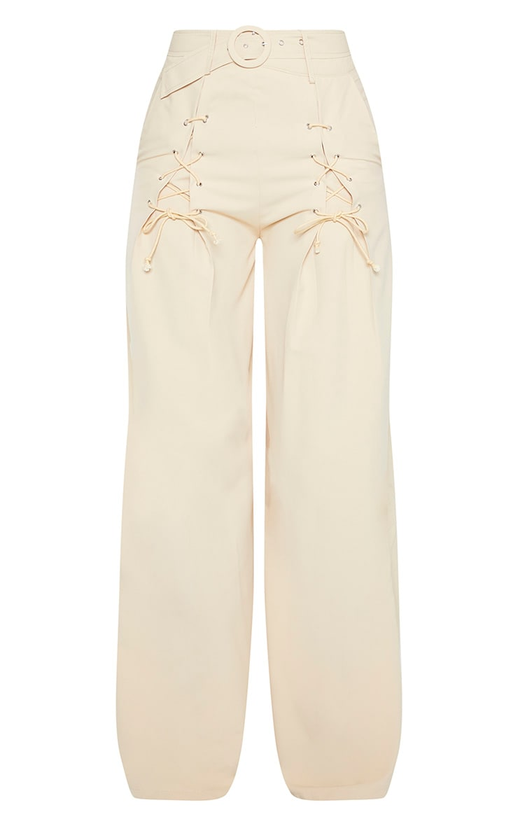 Stone Woven Belted Lace Detail Wide Leg Trouser 3