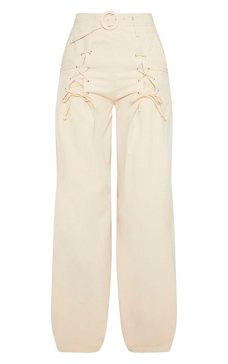 Pantalon en maille gris pierre à jambes évasées et détail ceinture 3