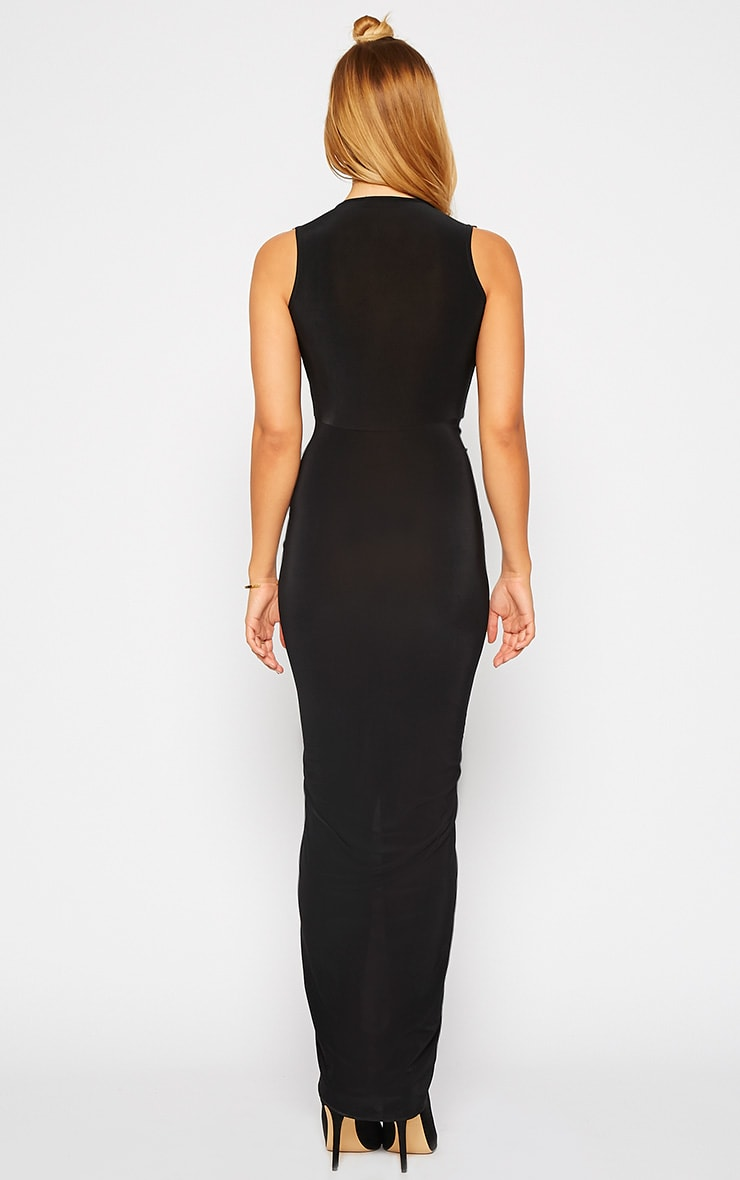 Meghan Black Slinky Ruched Maxi Dress 2