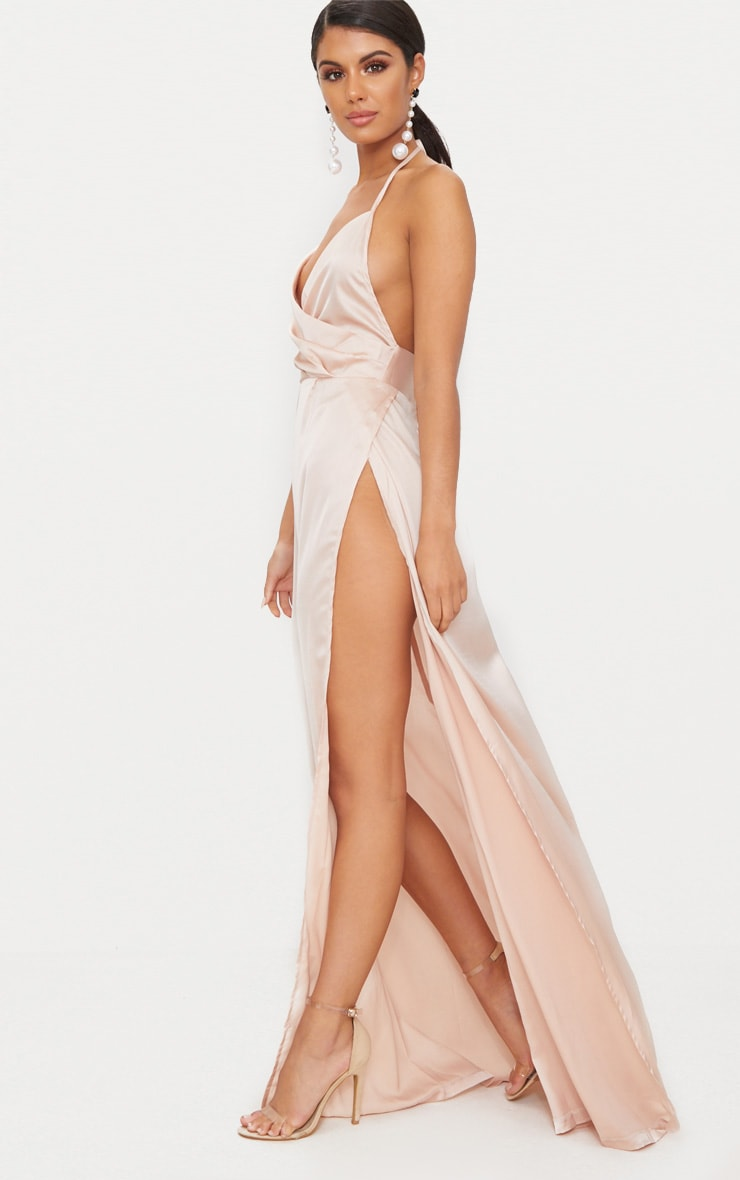 Lucie Champagne Silky Plunge Extreme Split Maxi Dress 4