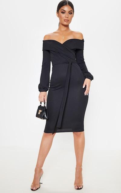 Black Long Sleeve Wrap Bardot Midi Dress