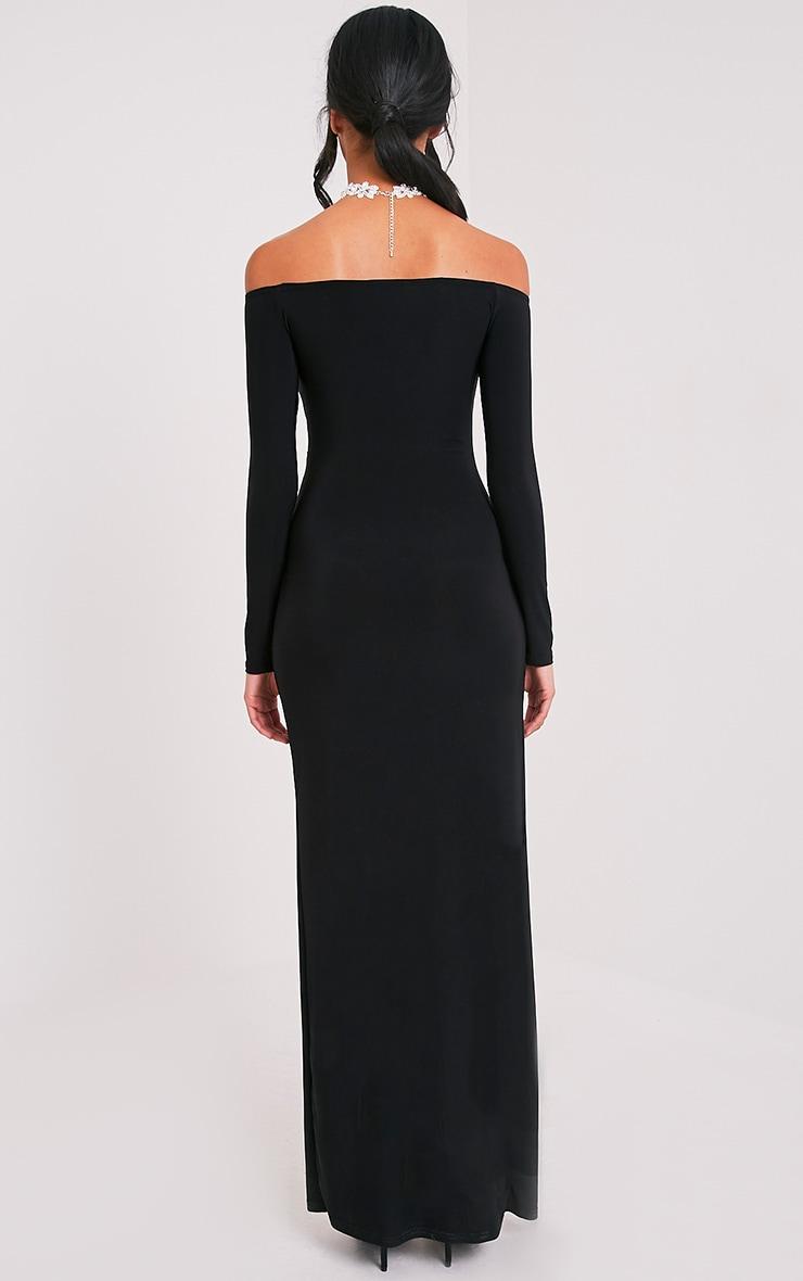 Sharlotte robe maxi bardot cache-cœur près du corps noire 2