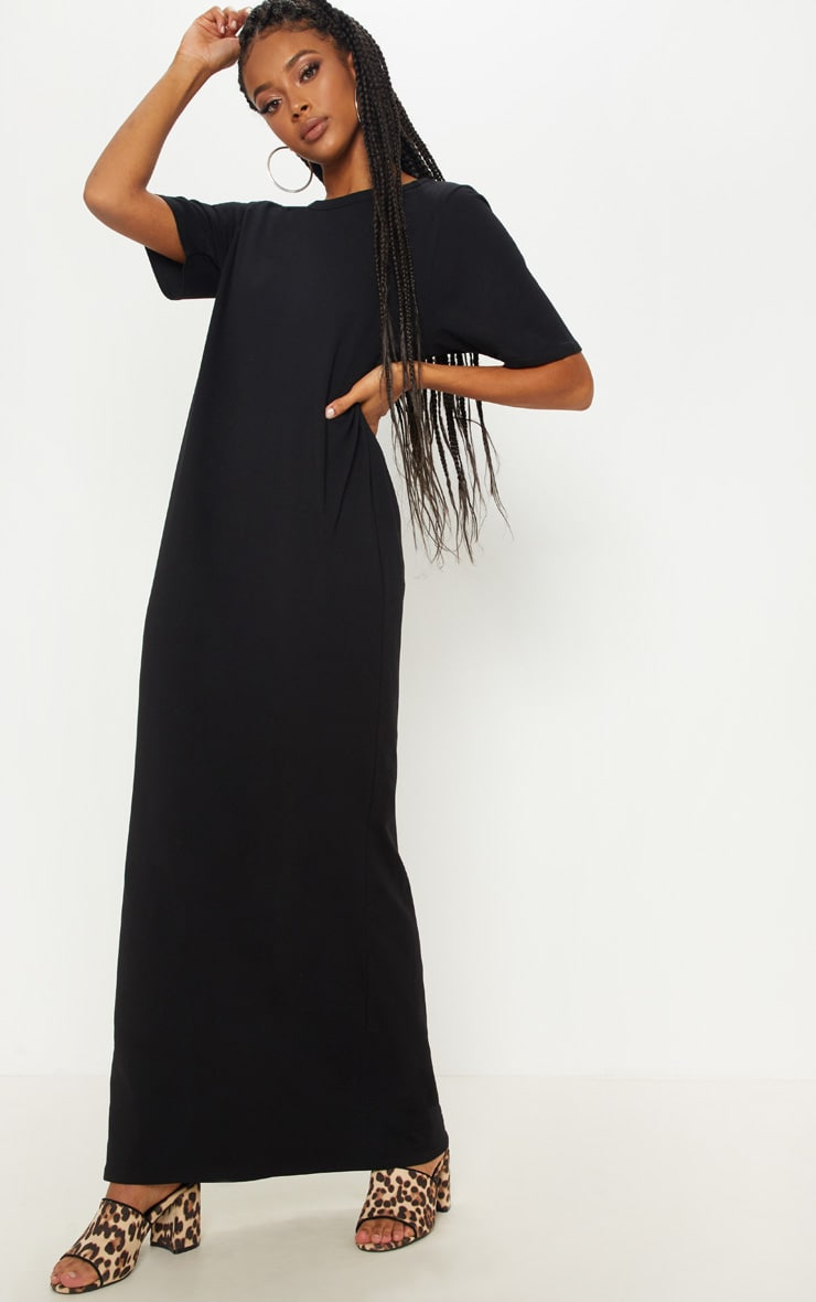 0979c0632 Shoptagr | Black Maxi Side Split T Shirt Dress by Prettylittlething