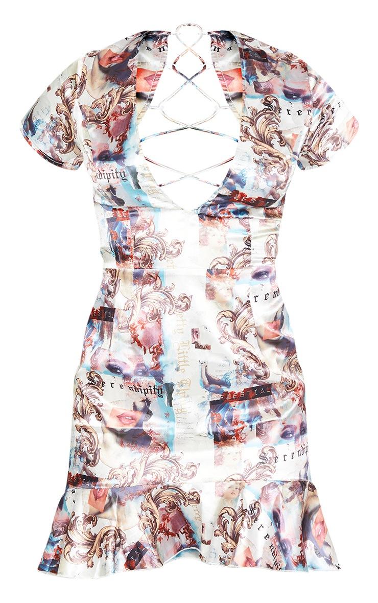 Multi Renaissance Criss Cross Back Frill Hem Bodycon Dress 5