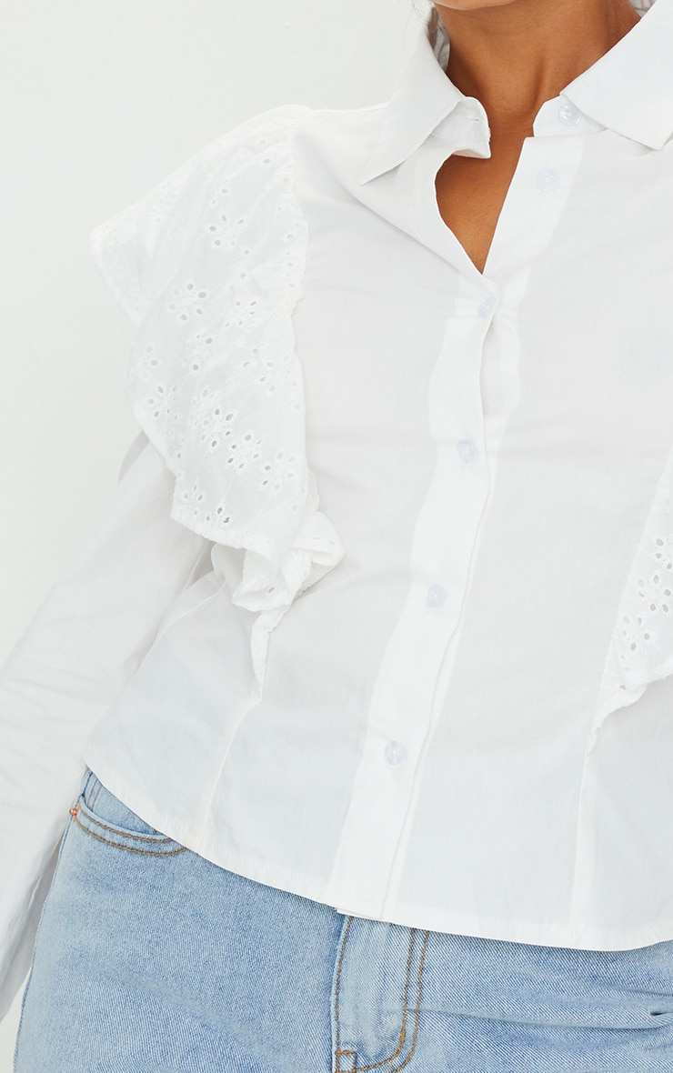 Petite White Broderie Anglaise Frill Blouse 4