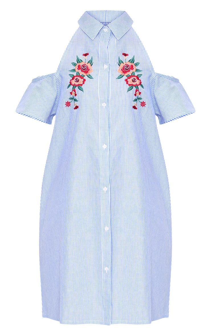 Blue Pinstripe Cold Shoulder Embroidered Shirt Dress 3