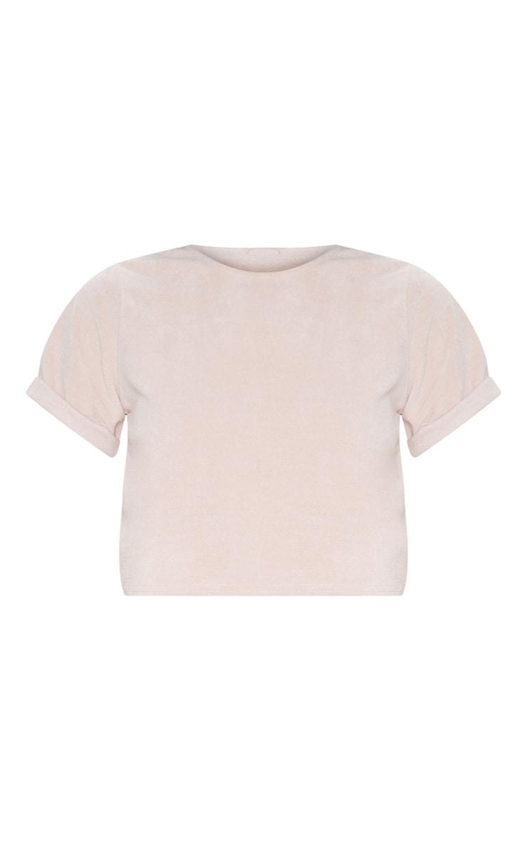 Rose Pink Velour Crop T-shirt 3