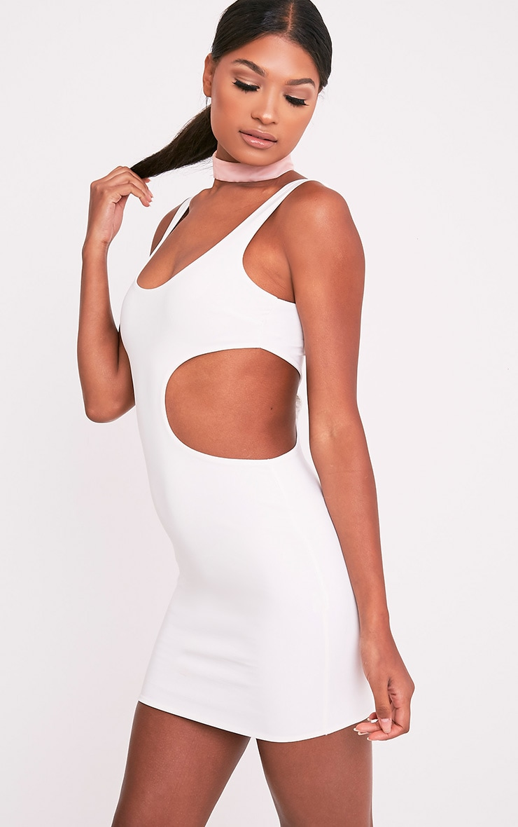 Kammy Cream Extreme Cut Out Bodycon Dress 4