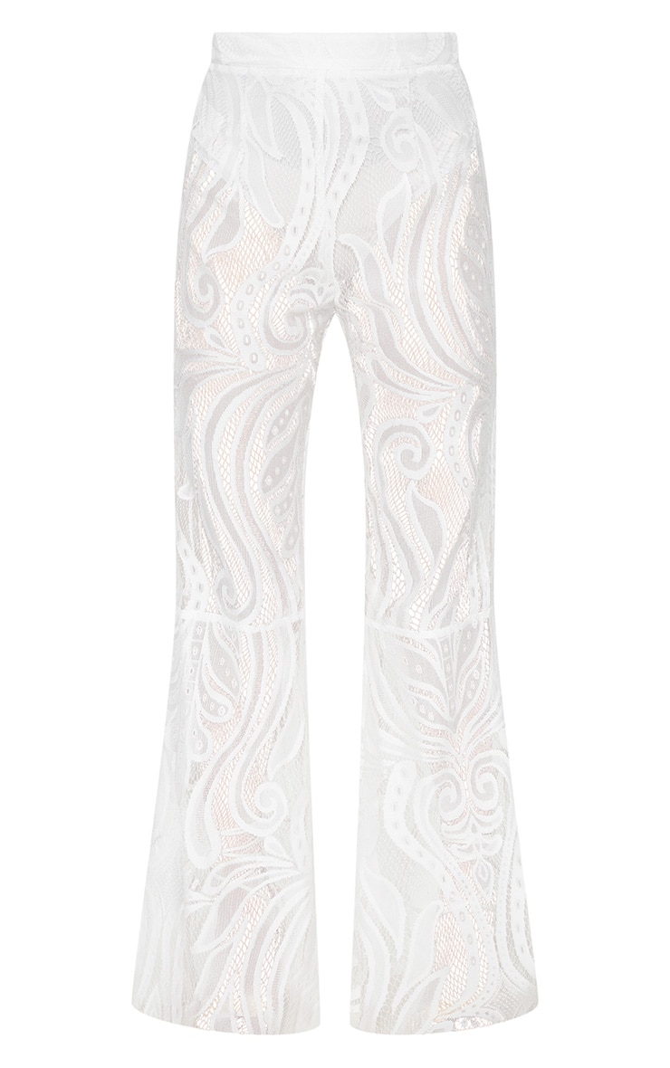Petite White Lace Flared Pants 3