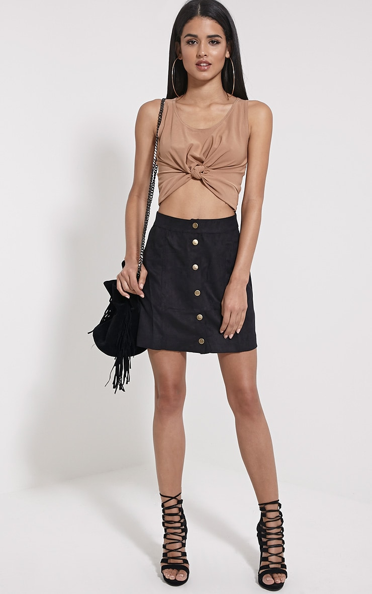 Zuri Camel Crepe Sleeveless Knot front Crop Top 3