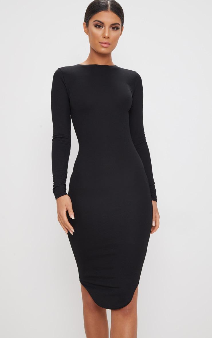 Black Long Sleeve Curved Hem Midi Dress 4