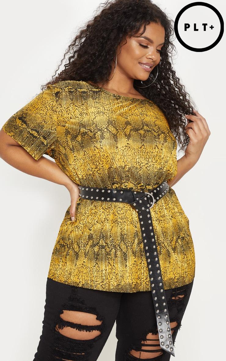Plus Yellow Snake Print Plisse Oversized T Shirt