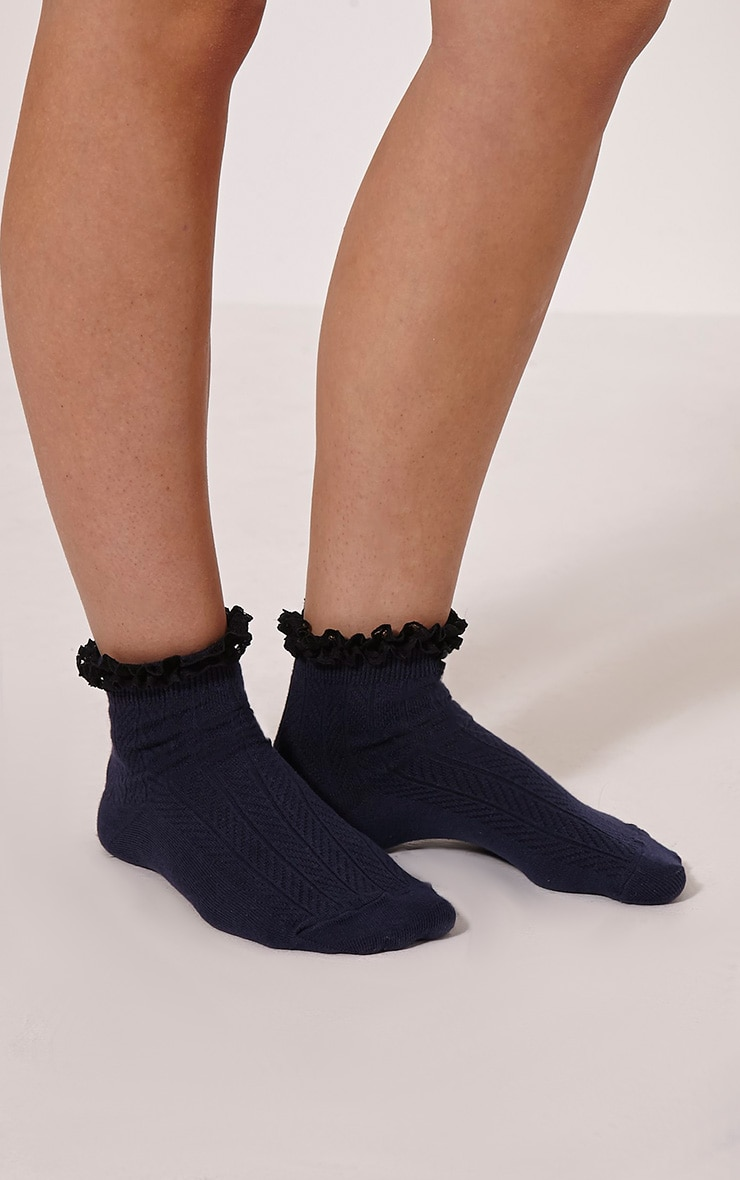 Natia Navy Frill Sock 1