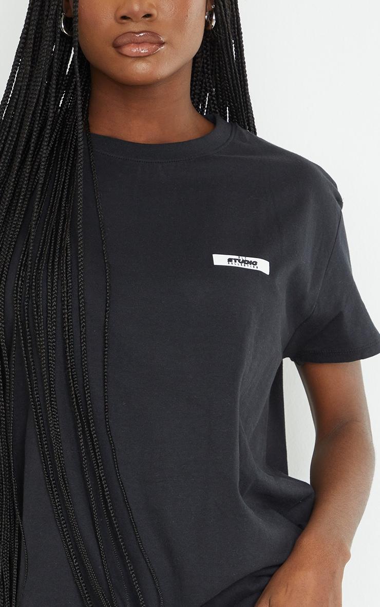 PRETTYLITTLETHING Tall Black Oversized T-Shirt 4