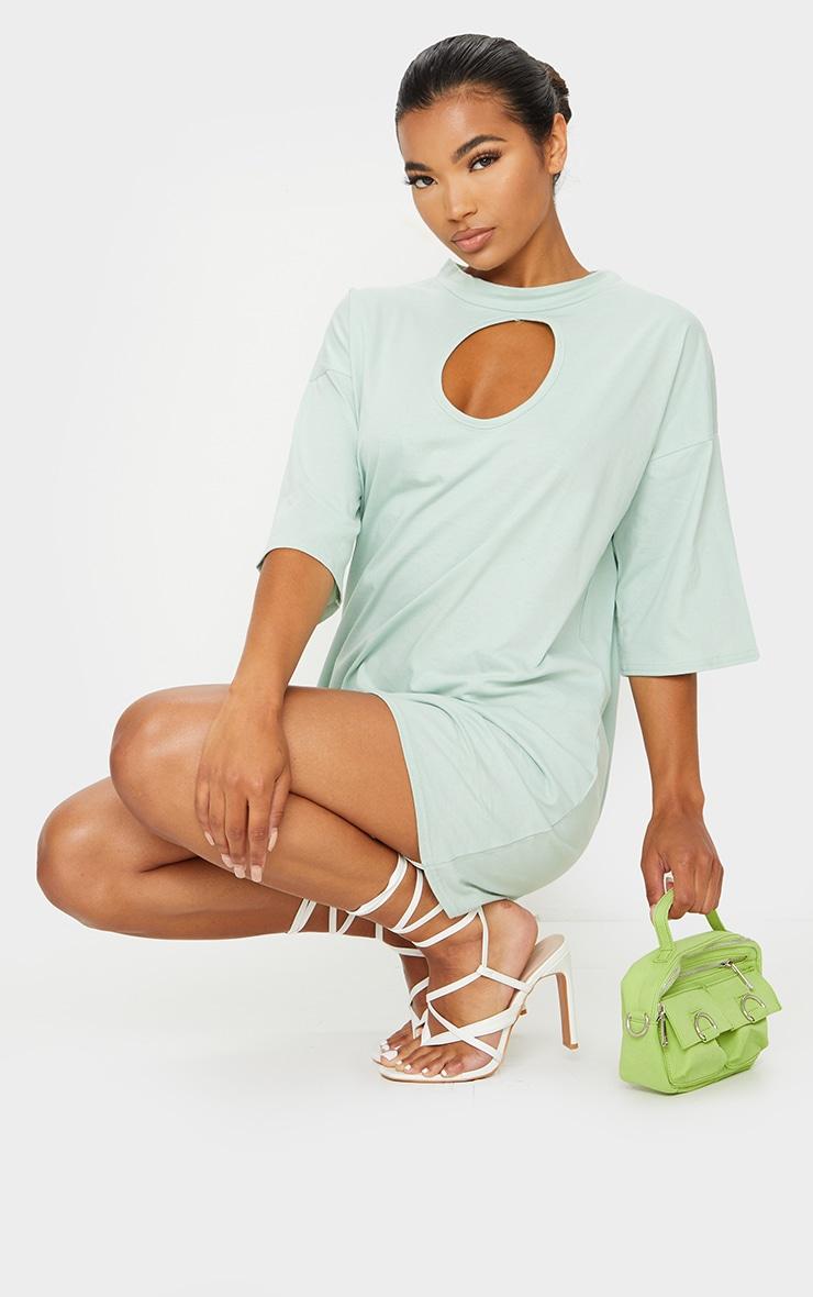 Sage Green Keyhole Bust Detail T Shirt Dress 1