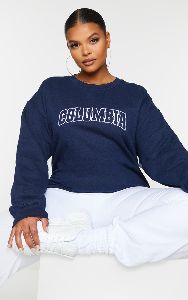 Plus Navy Columbia Embroidered Oversized Sweater 1