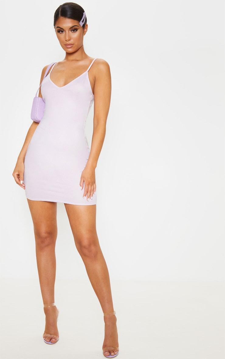 Lilac Strappy Bodycon Dress 4