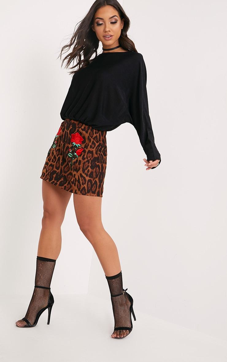 Bridget Black Slinky Shimmer Dolman Sleeve Top  4