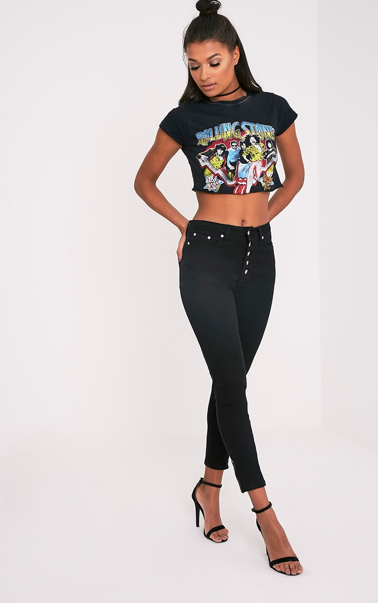 Khloe jean skinny noir taille haute à boutons 1