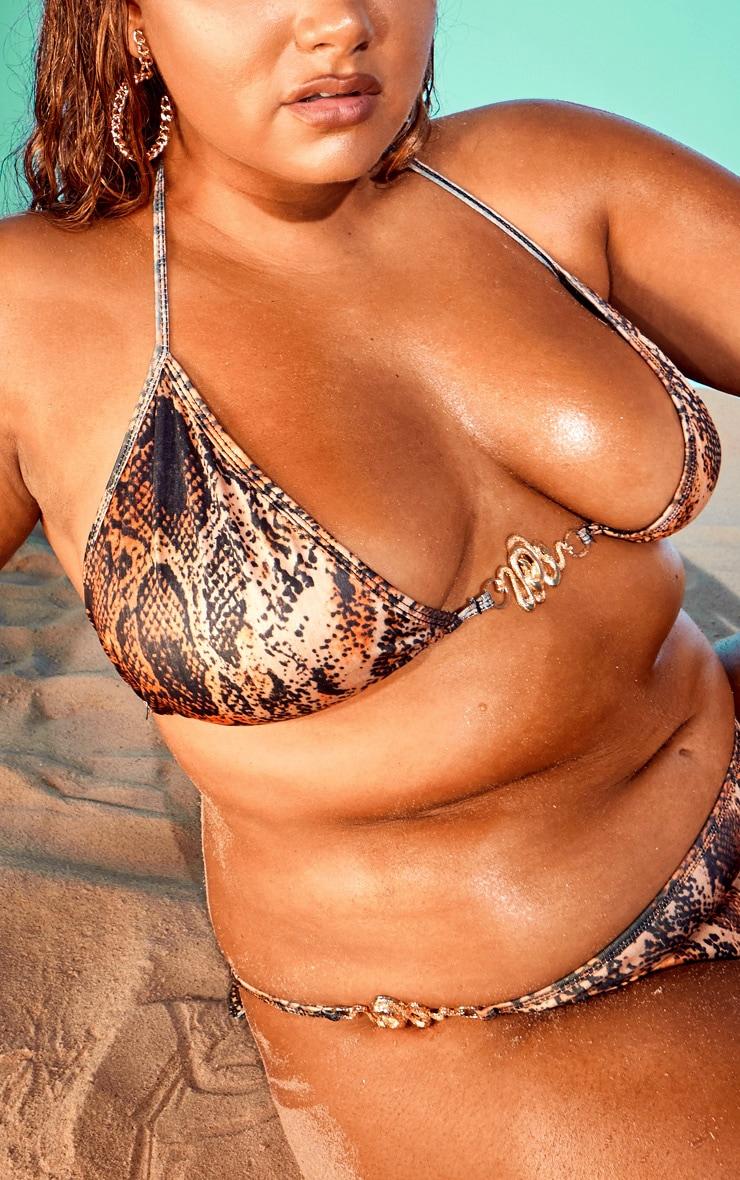 Plus Orange Snake Triangle Bikini Top 3