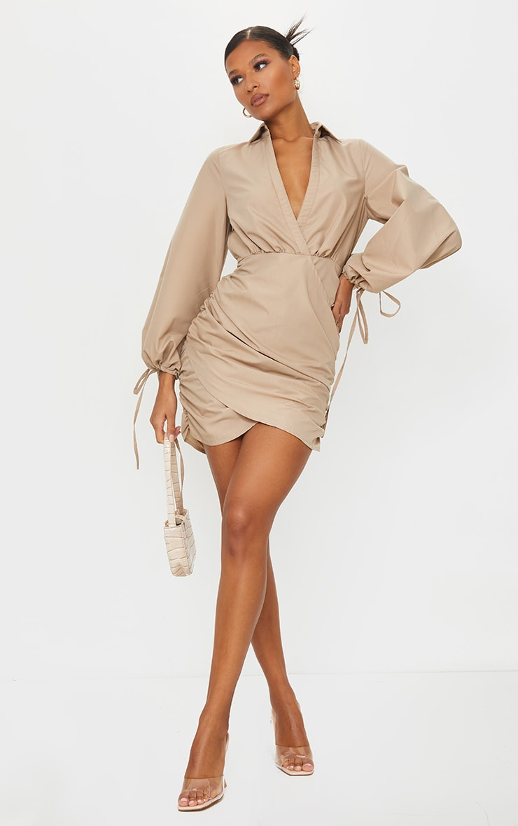 Stone Plunge Ruched Tie Cuff Shirt Bodycon Dress 3