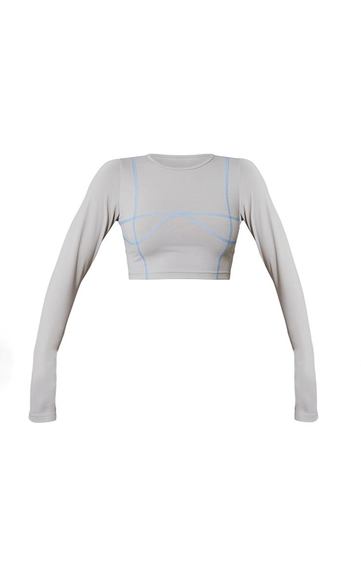 Ash Grey Stitch Detail Long Sleeve Cropped Gym Top 5