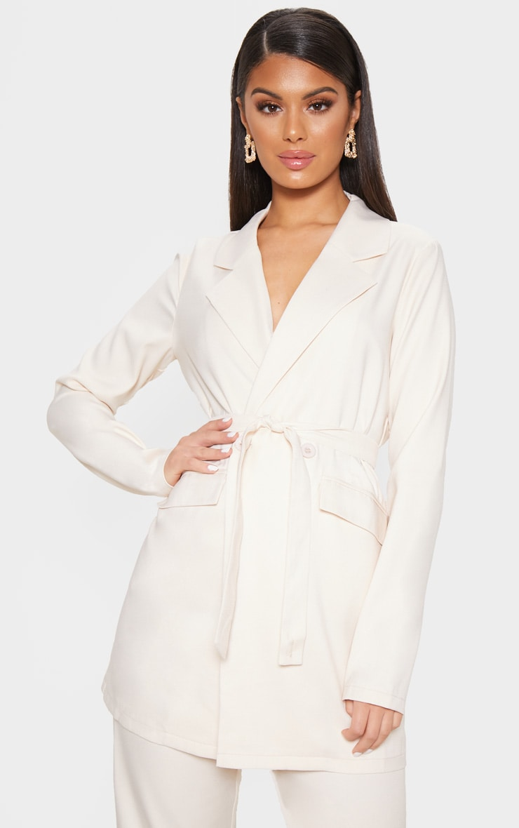 Ivory Tie Front Woven Blazer 4
