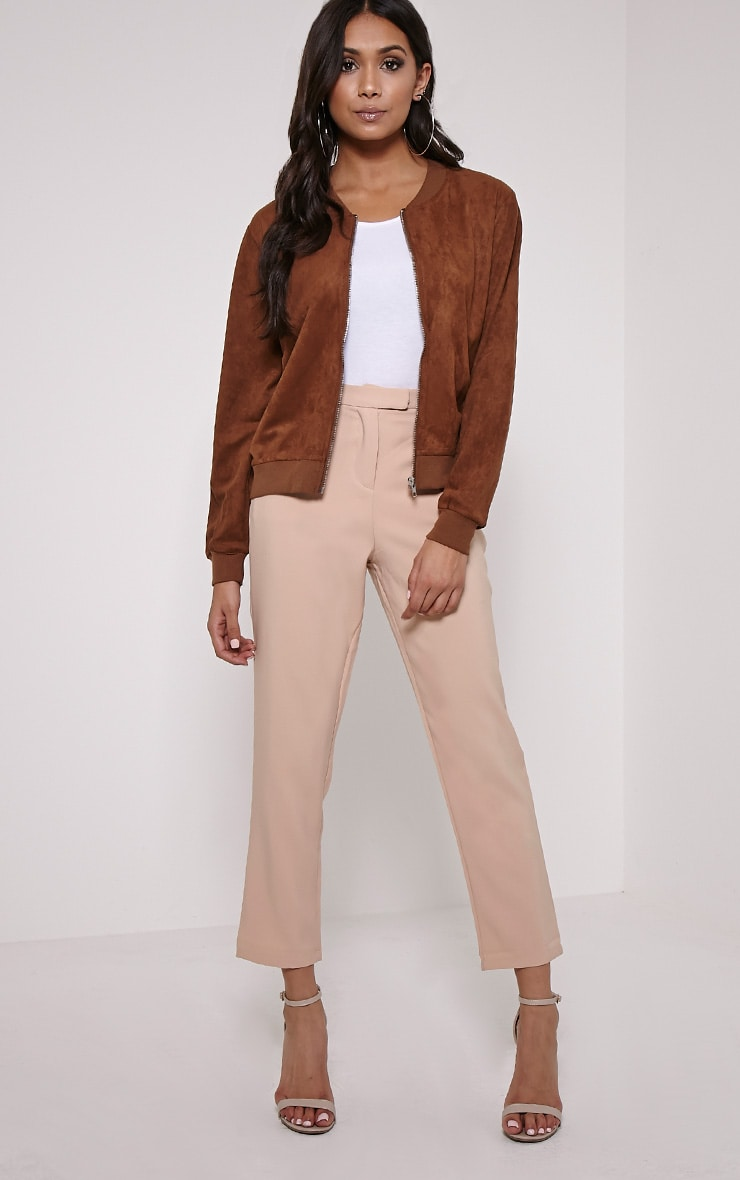 Riva Brown Faux Suede Bomber Jacket 3