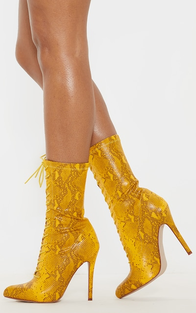 Yellow Snake Lace Up Sock Boot