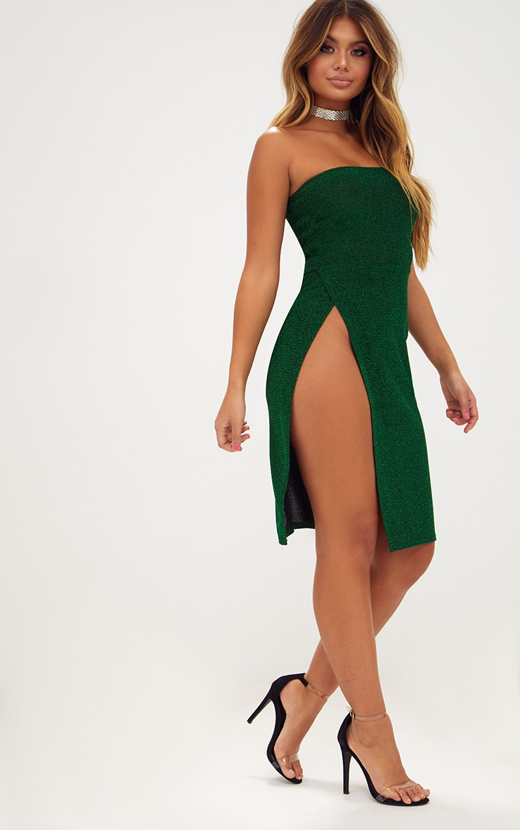 Green Glitter Bandeau Extreme Split Midi Dress 4